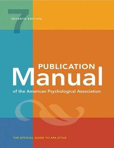 Publication Manual Of The American Psychological Association Apa 7th Edition Pdf American Psychological Association Book Publication Psychology