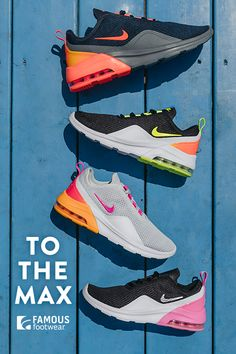 Nike Air Max is here. Go big in the signature style sneakers, featuring a little flair. Fly Shoes, Cute Shoes, Me Too Shoes, Kids Sneakers, Sneakers Nike, Sneakers Wallpaper, Workout Shoes, Unique Shoes, Dream Shoes