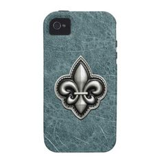 Fleur de Lis - Silver on Teal Leather Vibe iPhone 4 Cases