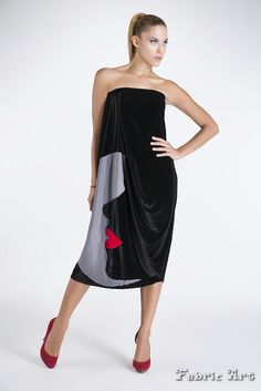 "Dress with draping and handmade applique ""Abstract face"". Also can be worn as a maxi skirt."