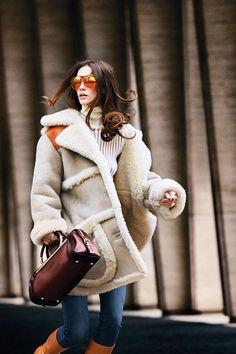 Coach coat, $1,995, coach.com; Diesel Black Gold sweater, $450, 212-966-5593; Joe's jeans, $165, joesjeans.com; Tommy Hilfiger sunglasses, $225, 212-223-1824; Jennifer Fisher necklace, $350, shopBAZAAR.com ; Vita Fede ring, $300, Bloomingdales, NYC, 212-705-2000; Chloé rings, $380-$395, editorialist.com; Bally boots, $1,795, 212-751-9083; Salvatore Ferragamo bag, $2,950, shopBAZAAR.com .   - HarpersBAZAAR.com