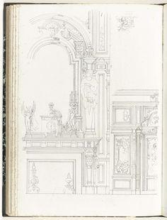 Onderboezem, muur en klein ornament, Anonymous, c. 1866 - c. 1900