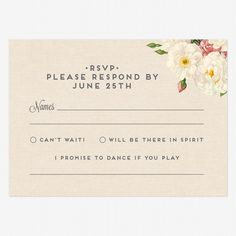 """Reply Postcards :: I promise to dance if you play ___________ and like the kinder wording other than """"i'm not coming"""""""
