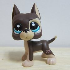Hasbro Littlest Pet Shop Collection LPS Figure Loose Brown Great Dane Dot Eyes