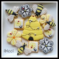 Happy Birthday Bees | Cookie Connection Bees, bee hive, flowers, by Kat Rutledge - Ibicci, posted at Cookie Connection