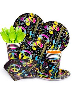 Neon rock star plates cups and utensils  sc 1 st  Pinterest & Chinese Dragon Decoration | 9 Neon and Plates
