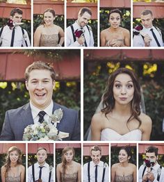 Montage of wedding party with awkward faces. hilarious. YES. DOING THIS.