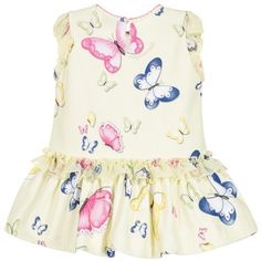 Baby girls yellow dress byMonnalisa Bebé, with a colourful butterfly print. Made in soft cotton jersey with small, elasticated, puffed organza sleeves, it has a pretty organza ruffle decorating the dropped waist. It has scalloped pink embroidery around the neckline and fastens with a button at the back for easier dressing.