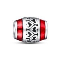 Red enamel openwork heart barrel charm