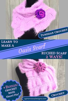 Oasis Scarf Wrap – Learn Ruching in Tunisian Crochet – Free Pattern – Light and Joy Designs Tunisian Crochet Free, Crochet Stitches For Beginners, Tunisian Crochet Stitches, Free Crochet, Crochet Scarves, Crochet Shawl, Easy Crochet Projects, Crochet Gifts, Crochet Accessories