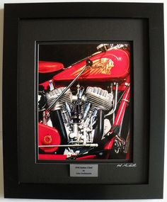 """1936 Indian Chief, Limited Edition, Custom Framed Motorcycle Art Print, Hand Signed & Numbered w/Certificate - Original Painting by John Guillemette,. Hand Signed and Numbered with Certificate of Authenticity. This Limited Edition, Custom framed print is produced from John Guillemette's original oil painting titled : """"1936 Indian Chief"""". The print is mounted in Raven black matting and set in a Satin black wood frame. It has a foam core backing that is sealed. It is 11"""" w x 14"""" tall…"""
