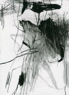 Laurence Garnesson | Série La maison du sourd, pierre noire sur papier, 37,5 x 28 cm, 2014
