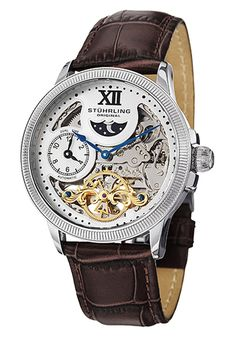 Price:$198.67 #watches Stuhrling Original 470.3315K2, With its beautiful automatic movement visible through the skeleton dial, this men's timepiece is a conversation starter. The watch features a dual time subdial at 9 o'clock and an am/pm indicator at 12 o'clock. A deployment clasp finishes off this watch.