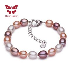 2017 White Pink Purple Mix Color Natural Freshwater Pearl Strand Bracelets For Women Summer Bohemia Oval Pearl Bracelets