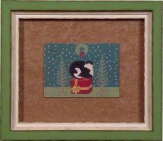 Frame a Christmas card! Holiday kitty in a Bradley's custom frame