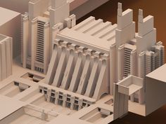 thought it would be interesting to see Antonio Sant'Elia's 1914 Trainstation design in isometric form.