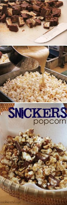 Movie night with the family is an easy to way to get in some family time! Heres a yummy snack to keep the little ones quiet throughout the movie! Snickers Popcorn - Love with recipe. Must remember this for my Whirly Pop! Popcorn Recipes, Snack Recipes, Dessert Recipes, Cooking Recipes, Flavored Popcorn, Popcorn Flavours, Cooking Corn, Yummy Snacks, Delicious Desserts