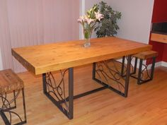 Custom Made Butcher Block Dining Table With Bent Iron Inlaid Base