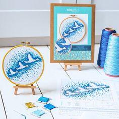 Easy Cross Stitch Kit  Flying Ducks  Modern Embroidery Hoop