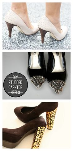 DIY Studded Heels' Tutorials.Top Photo:In Honor of Designused stick on studs from the scrapbooking department here, Middle Photo:Along Abbey Road glued studs to the toe capshere, Bottom Photo: The Mandarine Girl glued studs to heels here. *Links for the additional sites from In Honor of Design.
