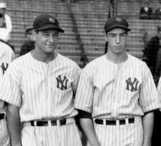 Lou Gehrig, First Base - Joe DiMaggio, Center Field played for The New York Yankees Baseball Star, Baseball Photos, Sports Baseball, Baseball Players, Baseball League, Sports Pics, Mlb Players, Baseball Cards, Go Yankees