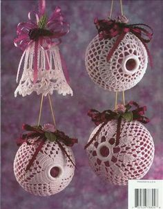 . Christmas Arts And Crafts, Holiday Crafts, Christmas Bulbs, Christmas Crafts, Christmas Decorations, Holiday Decor, Victorian Christmas Ornaments, Crochet Christmas Ornaments, Christmas Crochet Patterns