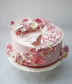 A pink butterflies birthday cake. Four layers of red velvet sponge with cream cheese frosting. 90th Birthday Cakes, 21st Birthday, Happy Birthday Wishes Sister, Cake Cookies, Cupcakes, Pink Cakes, Fondant Flowers, Just Cakes, Novelty Cakes