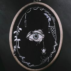 By Lila Mori (Moonflesh) Halloween Embroidery, Hand Embroidery Art, Cross Stitch Embroidery, Embroidery Patterns, Cross Stitch Patterns, Simple Embroidery, Contemporary Embroidery, Blackwork, Needlework