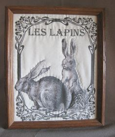 Quilted Bunnies Picture, Les Lapins, Framed Quilt, French Country, Romantic, Cottage Chic, SFCOFG via Etsy