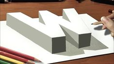 """How to Draw 3D Anamorphic """"W"""" Letter  