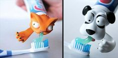 Cool toothpaste heads made to encourage kids to brush their teeth.