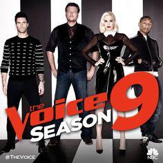 Your Season 9 coaches are... — with Adam Levine, Blake Shelton, Gwen Stefani and Pharrell Williams.