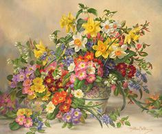 Spring Flowers and Poole Pottery Painting by Albert Williams - Spring Flowers and Poole Pottery Fine Art Prints and Posters for Sale