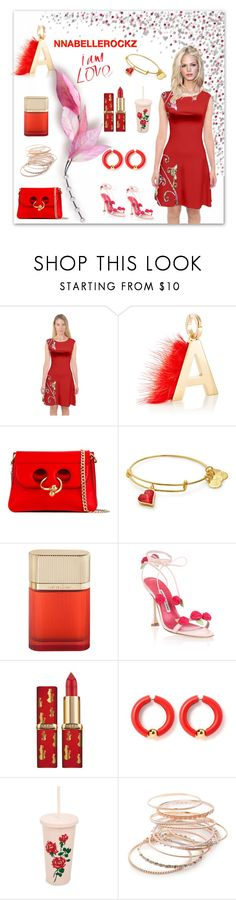 """Red floral"" by annabellerockz ❤ liked on Polyvore featuring Fendi, J.W. Anderson, Cartier, Manolo Blahnik, ban.do, Red Camel, outfit, red and dress"