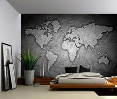 Black and White Stone Texture World Map - Large Wall Mural, Self-adhesive Vinyl Wallpaper, Peel & Stick fabric wall decal