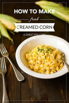 This is the tastiest possible way to have fresh creamed corn. Ever. And it's so easy, too! Corn Dishes, Veggie Side Dishes, Vegetable Sides, Side Dish Recipes, Vegetable Recipes, Veggie Meals, Healthy Side Dishes, Creamed Corn Recipes, Salads