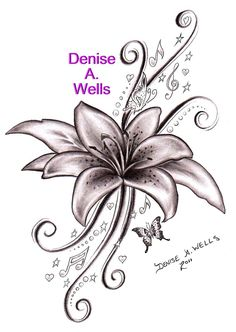"ATTENTION!! I am allowing anyone to use this ""Lily Song"" design as a TATTOO design only. All I ask is that you send me a photo of the completed tattoo to post on my  sites! Thank You!!!  You can 'like' my Facebook page of tattoo designs here: www.facebook.com/pages/Denise-A-Wells-ArtworksCustom-Tatt... -------      -----------     ------- You can contact me for your custom tattoo design at denyceangel_40@yahoo.com ♥♪ ♥¸.•*´¨´¨*•.¸ ♥♪ ♥♥♪ ♥¸.•*´¨´¨*•.¸♥♪ ♥♥♪ ♥"