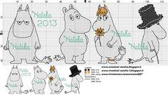 Bilderesultat for moomin knitting pattern Cross Stitch Baby, Cross Stitch Animals, Cross Stitch Charts, Cross Stitch Designs, Cross Stitch Patterns, Knitting Charts, Baby Knitting, Knitting Patterns, Diy Embroidery