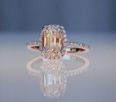 Peach sapphire ring rose gold 14k diamond ring by EidelPrecious