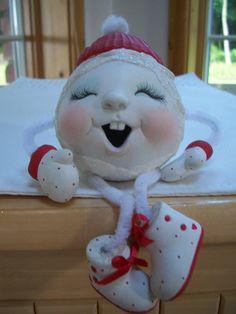 Items similar to Ceramic Snowball happy toothy noggin shelf sitter Christmas decoration on Etsy Christmas Class Treats, Clay Christmas Decorations, Christmas Nativity Set, Christmas Ornament Crafts, Clay Ornaments, Holiday Crafts, Christmas Diy, Ready To Paint Ceramics, Polymer Clay Christmas