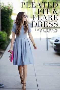 Pleated Fit and Flare Dress women fashion sewing tutorial