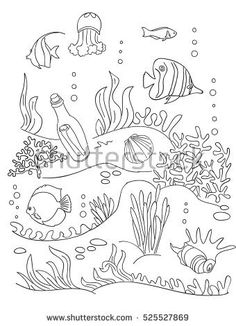 Sea bottom hands drawing. Coloring book page for kids. Doodle style, black and wight. Marine inhabitants.