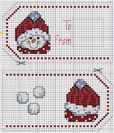 Cross-stitch Christmas Snowman labels... no color chart available, just use pattern chart as your color guide.. or choose your own colors...