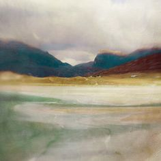 ARTFINDER: Luskentyre Bay, Isle of Harris, Scotland by Cath Waters - Digital print from a collage created using photography and mixed media.  Luskentyre Bay on the Hebridean Isle of Harris off the west coast of the Scottish ...