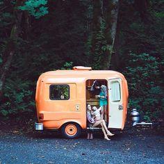 Small vintage trailer // Old School Trailer Works via Treasures & Travels Blog