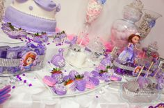sofia the first theme party #candy buffet #desert table   #chocolate strawberries & oreos
