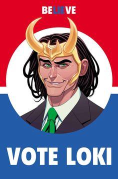 VOTO LOKI # 1 Loki es muchas cosas - dios, tramposo, mentiroso, hermano, hijo, villano, incluso héroe. Ahora quiere añadir una cosa más a la lista: Presidente de los Estados Unidos. Así es, el Dios de mentiras ha fijado su interés en convertirse en el gobernante del mundo libre, pero esto sólo es otro esquema? Una cosa es segura - con Loki sonrisa ganadora y la lengua de plata en la campaña electoral, esta elección se ha vuelto mucho más interesante ...