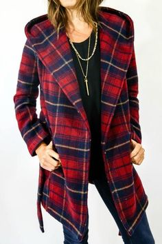 Such a fun coat. Love the plaid pattern and the fact that it is hooded! Jack by BB Dakota Plaid Wrap Coat
