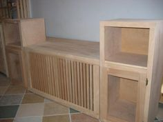 contemporary radiator cover window seat with doors for glass to each side