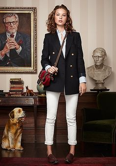 white jeans, navy blazer, and brougues
